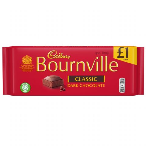 Classic Bournville Dark Chocolate Bar Cadbury 100g